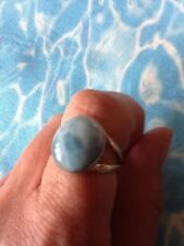 Natural Larimar Ring Solid 925 Sterling Silver Jewelry Size 6.5  #9