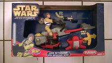 2005 PLAYSKOOL JEDI FORCE Yellow Pilot Suit Luke Skywalker with Speeder Bike MIB