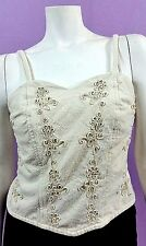 Womens Alta Costura D' Abbys Tan Floral Cropped Sweet Heart Tank Size 34