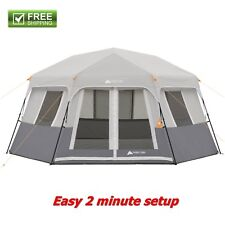 Instant Tent Gray 8-Person Cabin Weatherproof Rainfly Camping Hiking Trail New!
