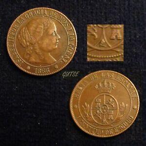 SPAIN, 640-ISABEL II, 1 CÉNTIMO ESCUDO 1866, BARCELONA no OM, AXF.