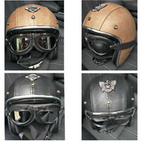 Motorcycle Helmet Open Face w/Goggles Deluxe Leather Scooter Cruiser Street Bike