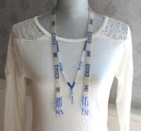 Art Deco 1920s Woven Blue and White Beaded Sautoir Tassel Flapper Necklace