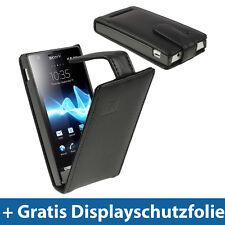 Schwarz Leder Flip Tasche für Sony Xperia U ST25i Android Schutz Hülle