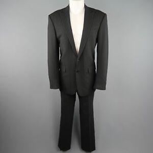 RALPH LAUREN Black Label US 40 black Pinstripe Wool Peak Lapel Suit