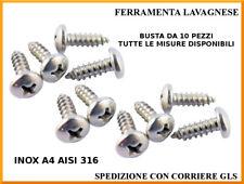 Viti autofilettanti inox A4 AISI 316 testa cilindrica DIN 7981 in busta 10 pezzi