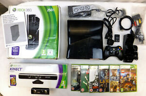 BOXED BLACK XBOX 360 SLIM 250GB CONSOLE PACKAGE + BOXED KINECT, 7 GAMES & MORE