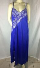 Vintage Nightgown 3X Beautiful Royal Blue and Periwinkle Lace Decolletage