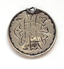 925 Sweet Heart Silver Coin Pendant Three 3 Pence 1887–93 Charm Engraved Tribal