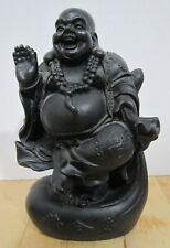 """Vintage 5-3/4"""" unknown material black Happy Buddha - very detailed  VGC"""