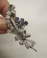 Stunning 1940's Platinum Sapphire And Diamond Spray Brooch 2.00 Carat Diamonds