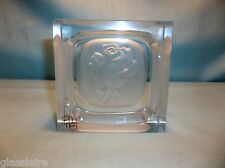 "Vintage Crystal INTAGLIO ROSE Ashtray PIN TRAY 4"" TAITU Japan"