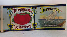 5- Defender Tomatoes Can Labels - 1930's - vintage new old stock - crisp & mint