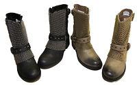 5ea4af5d204d Biker Bottes Femmes Cuir Boots Motard Roll Up Bottines Vintage ...