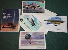 16 Soviet Postcards PLANE AIRCRAFT AIRSHIP BALLOON FIGHTER WW2 AEROFLOT USSR