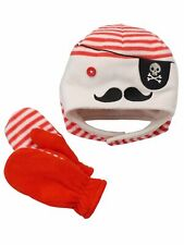 Jumping Beans Baby Boys Lined Fleece Beanie and Mitten Set - Pirate