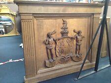 """Kerr Family Crest Over Mantle """"John Ker"""" Armorial Carved Oak Panel"""