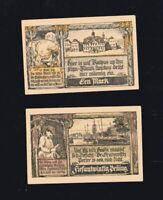 2x Notgeld Serie 25 Pf + 1 M  Stadt GRABOW in Mecklenburg 1922 Stadt-Ansichten