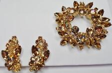 VERIFIED D&E DELIZZA ELSTER JULIANA DEMI PARURE TOPAZ BROOCH PIN EARRING SET