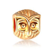 18K gilded owl fit European Charm Bracelet pendant Chain #E325