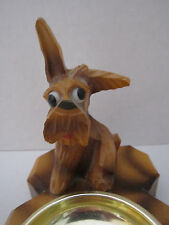"Vintage Wood Carved Scottie Terrier Dog Ashtray Googly Eyes 5.5""x4""x5"""