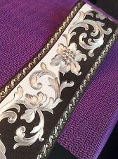 wunderschöne Barock Bordüre Schwarz.weiss .silber.5m lang 13,5 cm breit