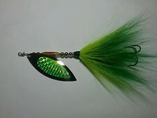 SPINNER BAIT PIKE  MUSKY  Buck Tail #6 24K Gold WILLOW BLADE GREEN CHARTREUSE
