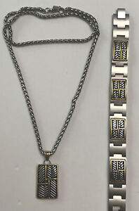"INOX 316L S.Steel Gold IP  Chain Men's Bracelet & Necklace Set 22"" Chain Ex Cond"