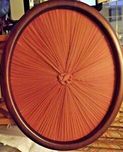 Decorative OVAL PANEL. 42cms x 34 cms. ROSE  coloured pleated centre.
