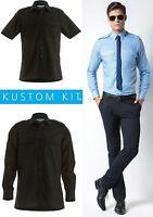Mens Kustom Kit Black Shirt Long Short Sleeve Tailored Work Shirt Pilot Shirt
