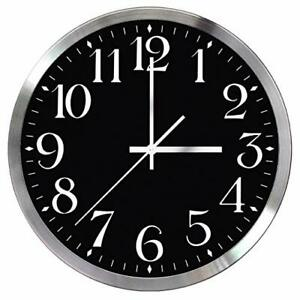 Wall Clock, 12 inch, Silent, Quartz, Decorative, Battery Operated, Black