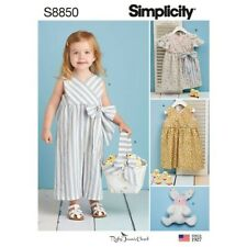 Simplicity Sewing Pattern S8850 Toddlers' Dress Jumpsuit Basket and Toy B