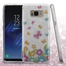 For Samsung Galaxy S8+ PLUS - Colorful Butterflies Full Glitter Hybrid Skin Case