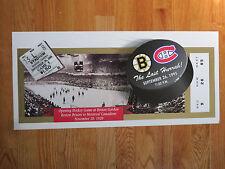 LAST HURRAH Boston Bruins vs Canadiens 9-26-95 Ticket Poster ORR BOURQUE RICHARD