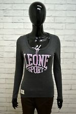 Maglia LEONE Donna Taglia S Maglione Shirt Woman Grigio Rosa Cotone Maglietta