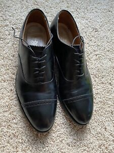 Brooks Brothers black dress shoe cap toe 10D, Made By Alden