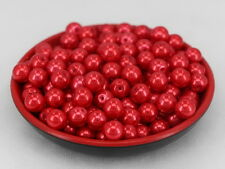 New Glass Pearl Round Spacer Loose Beads 8mm/50pcs red