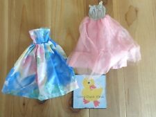 Barbie Doll Clothing Lot 2 GOWNS DRESSES Blue w Large Floral Print Pink Gray