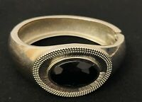 Silver Tone Black Onyx Style Hinged Bangle Costume Jewellery Tribal Style
