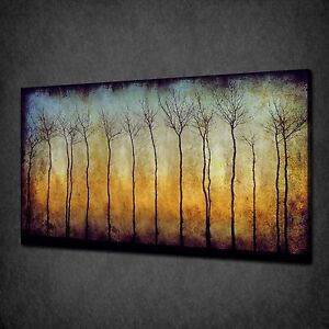 GRUNGE FOREST TREES MODERN CANVAS WALL ART PRINT PICTURE READY TO HANG