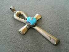 Southwestern Native American Turquoise cast Sterling Silver Ankh Cross Pendant