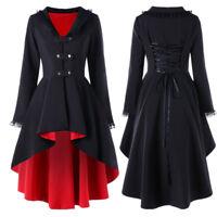 Womens Trim Victorian Military Lace Panel Coat Gothic Corset Back Jacket 3Colors