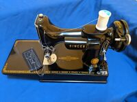 Vintage 1955 Singer 221 Featherweight Sewing Machine With Case And Attachments