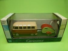 HONGWELL 147 VW VOLKSWAGEN T1 BULLY SAMBA + CARAVAN - RED 1:43 - VG IN BOX