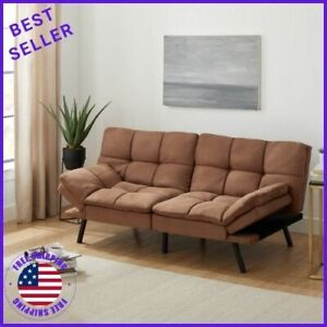 "Mainstays Memory Foam Futon Sofa Bed, Camel Suede Fabric, 72"" Beige"