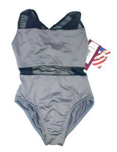 NEW Girls Dance Leotard Motionwear Style # 2124 Grey With Black Mesh Midriff