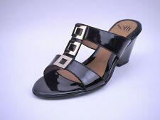 NIB Sofft Spezia Slide Wedge Leather Sandals, Black Patent, Size 7.5 M US