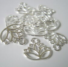10 Silver Plated Lotus Flower Charms, 17x15mm, Jewelry Making Supplies   (1007)