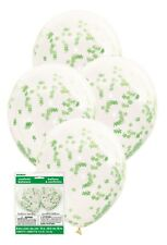 5 Clear Balloons Shamrock Confetti St Patricks Day Party Decoration Helium 40cm