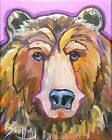 Broadway Original Expressionism Acrylic on Canvas 8x10 in. Bear face painting